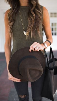 #fall #outfits women's brown fedora hat and sleeveless crew-neck top