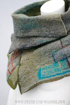 Gefilzte Schals für Männer oder Frauen - Filz Schal - fühlte mich Cowl - Big Scarf - Moss Steine