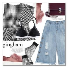 """gingham"" by svijetlana ❤ liked on Polyvore featuring Steve Madden, Fendi, Topshop, gingham and zaful"