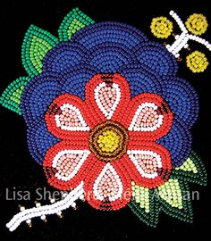 The Métis are often called 'The Flower Beadwork People' for their stunning floral designs worked out in beads or embroidery. Indian Beadwork, Native Beadwork, Native American Beadwork, Native American Art, Native Art, Native Beading Patterns, Beadwork Designs, Bordados Tambour, Nativity Crafts