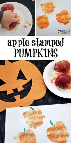Apple stamped pumpkins - My Bored Toddler Fall Activities
