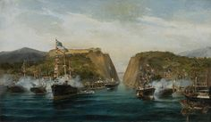 The Inauguration of the Corinth Canal in Painting by Greek painter Constantinos Volanakis Seascape Paintings, Landscape Paintings, Kai, Corinth Canal, Military Diorama, Greek Art, Art Database, Canvas Prints, Art Prints