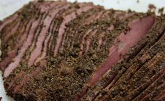 Homemade Pastrami via This wants to be a reuben! Homemade Pastrami, Brisket Flat, Coriander Seeds, How To Make Homemade, Outdoor Cooking, Charcuterie, Great Recipes, Beef