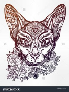 Vintage Ornate Cat Head With Tribal Ornaments And Floral Collar. Character Tattoo Design For Cat Lovers, Artwork For Print And Textiles. Isolated Vector Illustration. - 422939380 : Shutterstock