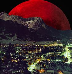 Original caption: Under The Cherry Moon, Germany, By Bobby Breidholt. Doc's caption: this could be a real photo because Germany is higher up on the earth therefore closer to the moon. Plus that's Russia's moon which is red. All Nature, Science And Nature, Beautiful Moon, Beautiful World, Dark Fantasy, Blood Red Moon, Shoot The Moon, Sun Moon Stars, Moon Rise