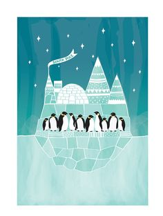 Penguins Art Print - Ice South Pole - Animal Illustration South Pole Geomery Children decor, Kids Room, Wedding Birthday Anniversary Gifts