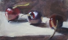 "Cherry Study II by Ian Costello Oil ~ 3"" x 5"""