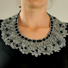Embellished Collar - Handmade embellished collar. Made of silver yarn and decorated with black beads. Appropriate for the evening.