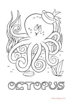 Octopus Animal Coloring Page From Tsgos Coloring Apps, Animal Coloring Pages, Coloring For Kids, Adult Coloring, Christmas Unicorn, Unicorn Halloween, Halloween Books, Princess Celestia
