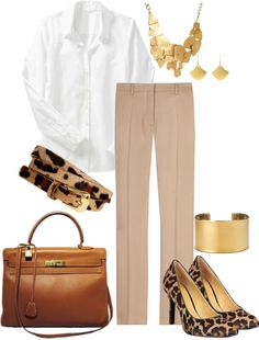 """""""Simple for Work - White Shirt, Camel Pants and Leopard Accents"""" by trinavokes on Polyvore"""
