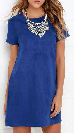 Fond Memories Blue Suede Shift Dress