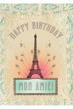 PAPAYA! Art Happy Birthday Mon Amie 5x7 Card - Papaya!
