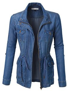 Special Offer: $39.64 amazon.com Take over in this long sleeve anorak denim jacket featuring a drawstring waist and front pockets. It is a must have for a fashion forward outfit! Pair it withLightweight, soft material for all-day comfortFull zip up and snap button closure / Features...