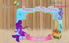 Mermaid Photo Booth / Mermaid Birthday / Backdrop / Birthday Photo Booths / Purple Gold Mermaid Part 2nd Birthday Photos, Birthday Party At Park, Birthday Photo Booths, Birthday Backdrop, Unicorn Birthday Parties, Birthday Decorations, Mermaid Pinata, Mermaid Diy, Diy Party Photo Booth
