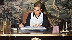 Farah Pahlavi at work in her office in Tehran, 1970s.