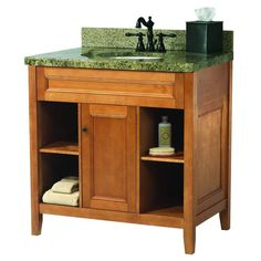 Foremost Exhibit 31 in. W x 22 in. H Vanity in Rich Cinnamon with Quadro Granite Top