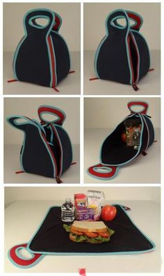 FlatBox-LunchBox - unzipping the four easy zippers, it converts into a flat placemat - 2013 IHA Innovation Award Winner - Rita Floyd-Vester #neoprene