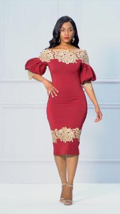 Burgundy Lantern Sleeve Floral Backless Bodycon Dress>>NEW African Print Dresses, African Print Fashion, African Fashion Dresses, African Dress, Dressy Dresses, Dress Outfits, Straight Dress, African Attire, Classy Dress