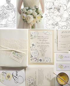 Inspirations – White and Ivory Peony Wedding Invitations