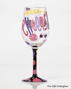 Lolita Wine Glasses - Cheers Wine Glass Hand Painted 4053097 #LolitaWineGlass #Cheers #FineGiftsNottingham