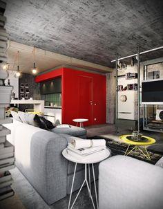 BUNKER :: first level by PROforma - project group (Tatyana Bobyleva - Interior designer) / Moscow, 2014 Loft Interior, Best Interior Design, Interior Architecture, Industrial Loft, Industrial Interiors, Bunker, Loft Design, House Design, Attic Design