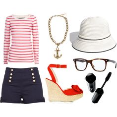 """This """"de-lovely"""" sailor apparel is a perfect opening night outift.  Hipsters on Broadway  Reno Sweeney- Anything Goes"""