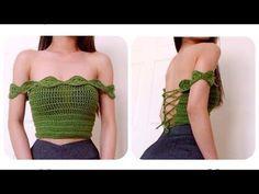 Crochet Top Crochet Off Shoulder Crop-top Crochet Summer Tops, Crochet Crop Top, Cute Crochet, Crochet Bikini, Crochet Top Outfit, Black Crochet Dress, Crochet Clothes, Crochet Outfits, Tricot Simple
