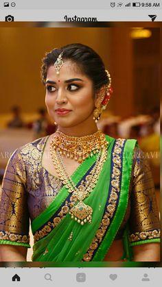 Zardozi work sleeves for wedding saree Indian Bridal Fashion, Indian Bridal Makeup, Bridal Looks, Bridal Style, Bracelets Design, South Indian Bride, Kerala Bride, Saree Wedding, Bridal Sarees