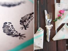 DIY: Stamped Napkins and I like how they tied the silverware with a nice ribbon.