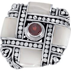 $157.81 No Tax! Amidon Jewelers offers this interesting Sterling Silver Genuine Mother of Pearl with Mozambique Garnet Ring from Amidonjewelers.com