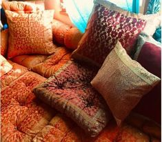 Kela Sari Floor Pillows are stitched from traditional North Indian Saris, hand tufted, and stuffed with natural cotton and poly. Indian Saris, Decorative Pillow Covers, Designer Throw Pillows, Floor Pillows, Indian Fashion, Traditional, Indian Style, Trending Outfits, Natural