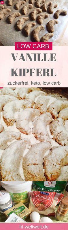 Rezept: Low Carb Vanillekipferl selber machen - wie das Original. Plätzchen Weihnachten ohne Zucker. Low Carb, Keto Rezept: Leckere Weihnachts-Vanille Kipferl Kekse. Vanillekipferln Rezept für Weihnachten, das gesund und einfach ist mit einer Art Mürbeteig. Geht schnell, ist zuckerfrei und ketogen.