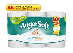 Angel Soft 48 Double Rolls Bath Tissue, 12 Count (Pack of An ideal balance of softness and strength. Angel Soft Bath Tissue is made with 2 SoftShield Layers