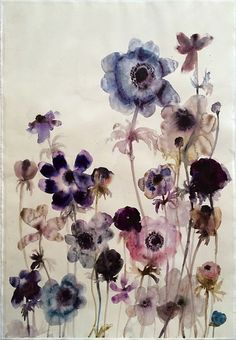 Available for sale from Sears-Peyton Gallery, Lourdes Sanchez, Anemones 8 Watercolor on paper, 44 × 30 in Watercolor Sketchbook, Abstract Watercolor, Watercolor Flowers, Watercolor Paintings, Watercolour, Flower Wallpaper, Artist Art, Art Journals, Art Pictures