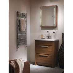 buy john lewis instinct integrated led single mirrored bathroom cabinet online at johnlewiscom