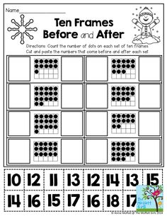 Ten Frames Before and After- Cut and paste the numbers that come before and after each set of ten frames.