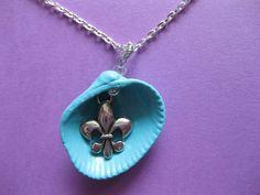 Fleur de lis Turqoise Blue Seashell Necklace by NovelShell on Etsy, $15.00