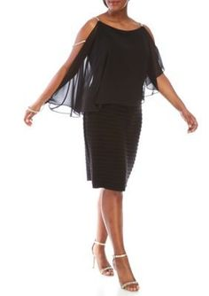 SCARLETT Black Plus Size Cold Shoulder Rhinestone Dress
