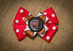 Tampa Bay Bucs Black & Red Hairbow