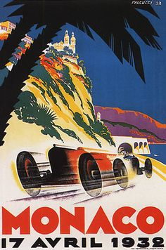 1931 MONACO GRAND PRIX FORMULA ONE AUTO RACING 11x17 POSTER VINTAGE ART DECO