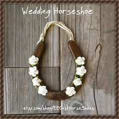 50% OFF!  The bride and groom will have good luck!   https://www.etsy.com/listing/238287214   #EECustomHorseShoe #decoratedhorseshoes #etsy #horseshoes #horses #goodluck #brideandgroom