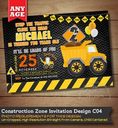 Construction Birthday Invitation, Construction Party, Construction Birthday, Construction Invitation, Boys Construction, Dump Truck, Truck by ThePrintableOccasion on Etsy https://www.etsy.com/listing/224121677/construction-birthday-invitation
