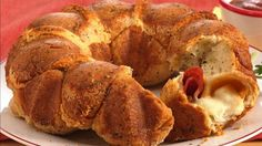 Pepperoni is the surprise inside each piece of this pull-apart snack ring.