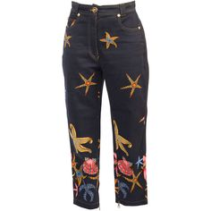 Preowned 1990S Gianni Versace Vintage  Trousers (£305) ❤ liked on Polyvore featuring pants, bottoms, jeans, trousers, multiple, versace, versace pants, versace trousers and shell pants