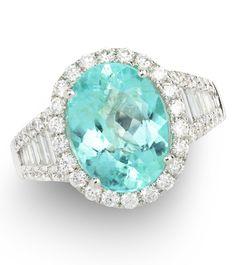 Brilliant Blue Oval Tourmaline Ring. Item #124-70083317 4.00 Paraiba Tourmaline & 1.60 ctw Diamond 18K White Gold 5.78gr Ring W/ Appraisal Size 7.50 - Gem Shopping Network