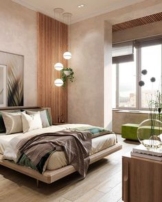 Our interior design studio in Marbella has recently completed new project - small apartment for two, inspired by spring nature. Master Bedroom Interior, Modern Master Bedroom, Bedroom Bed Design, Modern Bedroom Design, Home Room Design, Contemporary Bedroom, Home Decor Bedroom, Bedroom Ideas, Modern Luxury Bedroom