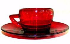 Rare Antique Ruby Red Glass Coffee cup Tea Cup & Saucer Set 1900's Red Glass in Pottery & Glass, Glass, Glassware | eBay