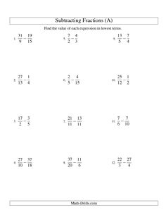 Fractions Worksheet -- Subtracting Fractions with Unlike Denominators and some Improper Fractions and Mixed Fraction Results (A)