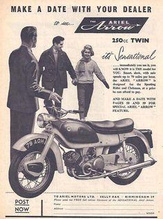 Manufacturer Ariel Detail Arrow Twin ndash Original Advert Size Colour B W Year 1960 Reference Bsa Motorcycle, Motorcycle Posters, Motorcycle Types, Bike Poster, Motorcycle Manufacturers, British Motorcycles, Garage Art, Old Bikes, Car Advertising