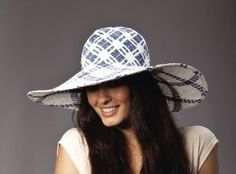 New Ladies Wide Brim With Woven Ribbon Design - Straw Style Summer Fashion Hat.